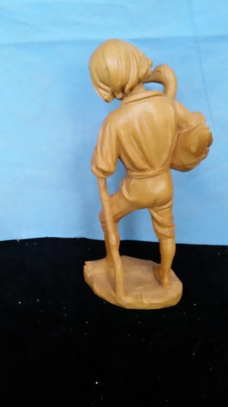 Anri 9.5 Inch  Boy Holding Duck Hand Carved  Vintage
