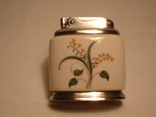 Ronson Porcelain &  Silverplated Table Lighter