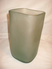 Mouthblown  Pale Blue Square Vase