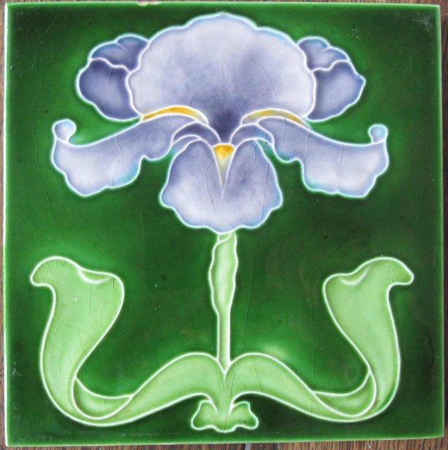 Antique English Art Nouveau Tile