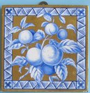 Antique English Aesthetic Gilt Tile - Peach