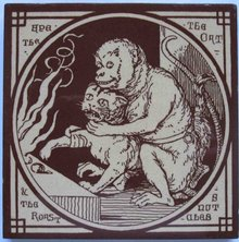 Antique English Picture Tile - Aesop's Fables
