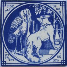 Antique English Picture Tile - Aesop's Fables
