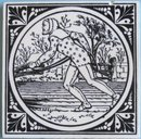 Antique Minton China Works Picture Tile - Husbandry