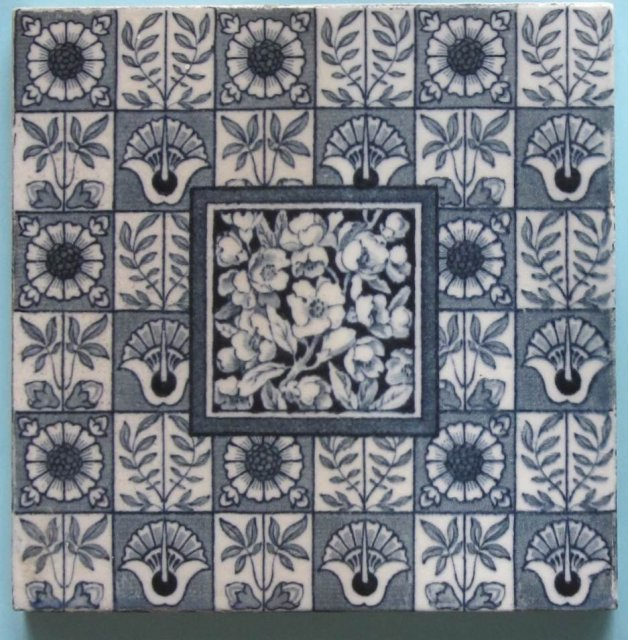 Antique English Wedgwood Aesthetic Blue Tile