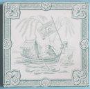 Antique Minton Hollins Oriental Series Picture Tile