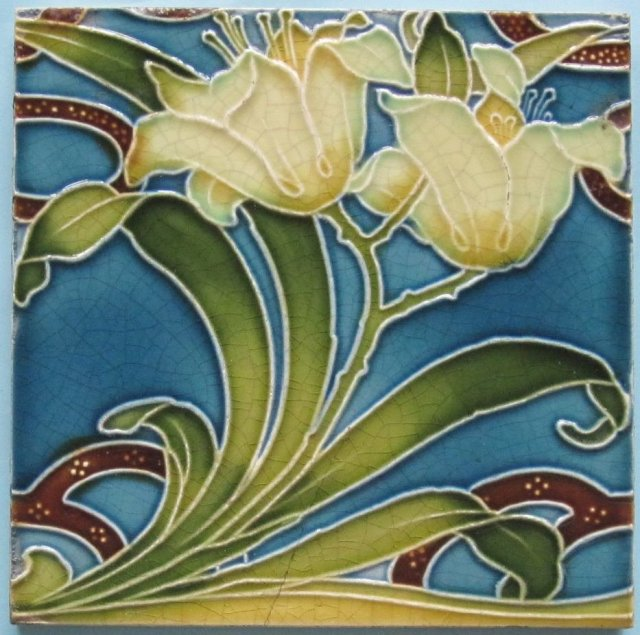 Antique Minton China Works Art Nouveau Tile