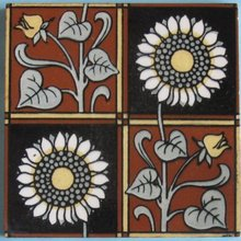 Antique Minton Aesthetic Four-Square Tile