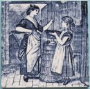 Antique Minton Aesthetic Picture Tile - Village Life