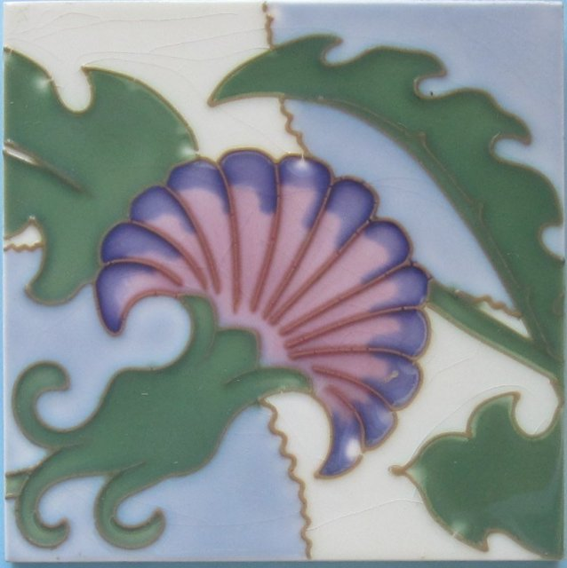 Antique Belgian Art Nouveau Tubelined Tile
