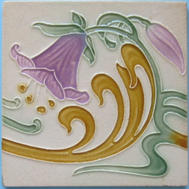 Antique Belgian Art Nouveau Tile