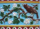 Large Antique English  Majolica Bird Tile - Campbell Brick & Tile