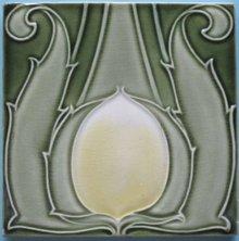 Antique Art Nouveau Tile Panel - Villeroy & Boch Waterlily