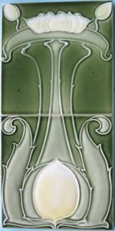 Antique Art Nouveau Tile Panel - Villeroy & Boch Waterlily