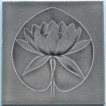 Antique Art Nouveau Waterlily/Gray SeeRosen Tile  - Boch Freres
