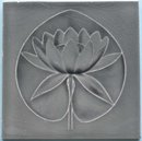 Antique Art Nouveau Waterlily/Gray SeeRosen Tile  - Boch Freres
