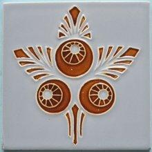 Antique Belgian Art Nouveau Tile - Herent Acorns