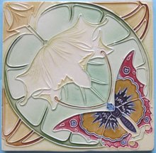 Antique Belgian Art Nouveau Tile - Fabulous Butterfly