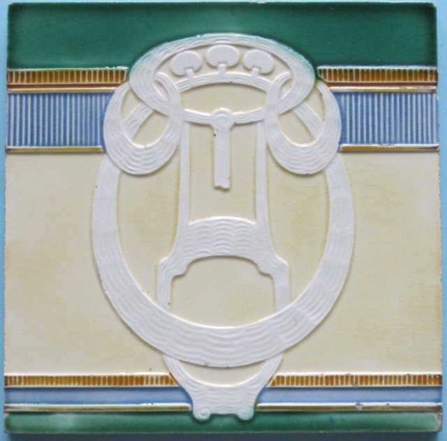 Antique German Jugendstil Tile - Mugeln