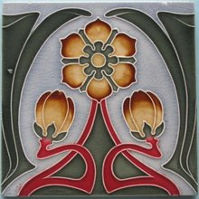 Antique German Jugendstil Tile Panel #3 - Tonwerke Offstein