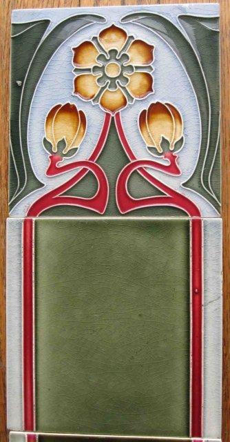 Antique German Jugendstil Tile Panel #3 - Tonwerke Offstein