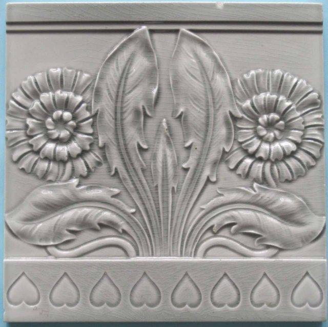 Antique German Jugendstil Tile - Meissen Double Dandelion