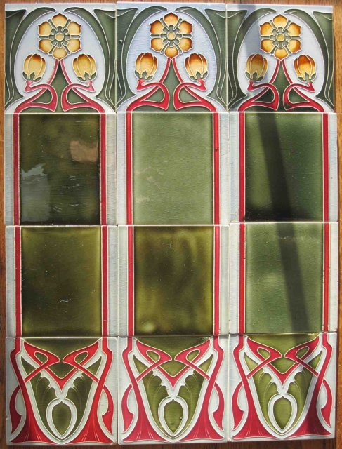 Antique German Jugendstil Fireplace Tile Panel #1 - Tonwerke Offstein