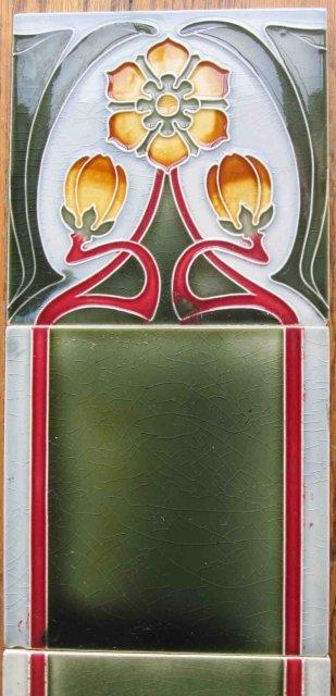 Antique German Jugendstil Tile Panel #2 - Tonwerke Offstein