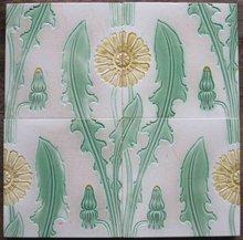 Panel of 4 Antique German Jugendstil/Nouveau Tiles - Meissen Dandelions