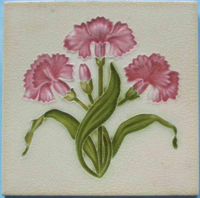 Antique English Art Nouveau Tile - Meakin