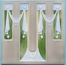 Antique German Jugendstil Tile - Mugeln