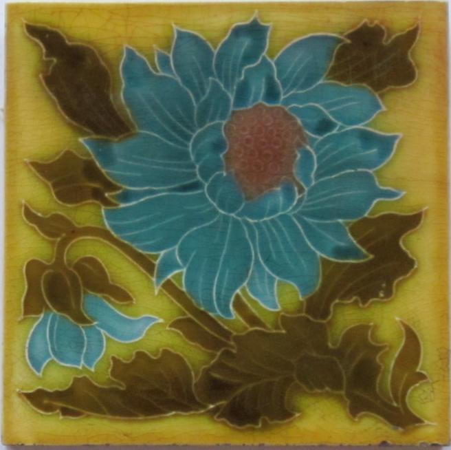 Antique English Majolica Floral Art Nouveau Tile