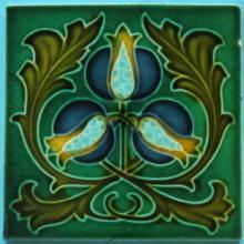 English Art Nouveau Tile -- Corn Bros.