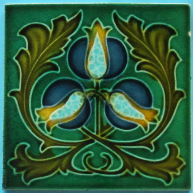 English Art Nouveau Tile -- Corn Bros.