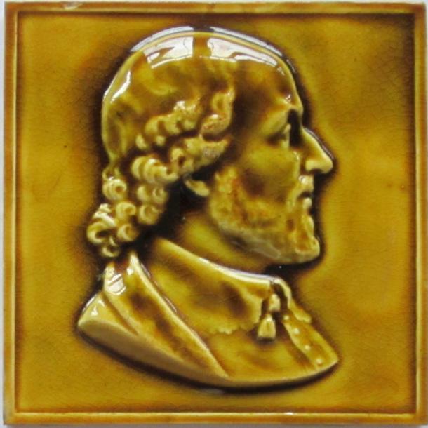 American Majolica Portrait Tile --Gentleman