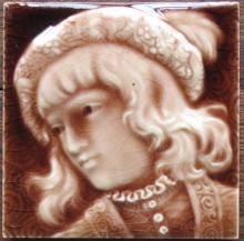 American Majolica Portrait Tile - Trent