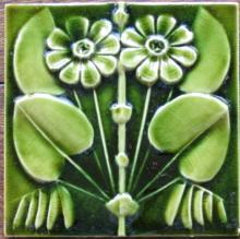 Antique American Arts & Crafts Majolica Tile - J.& J.G. Low