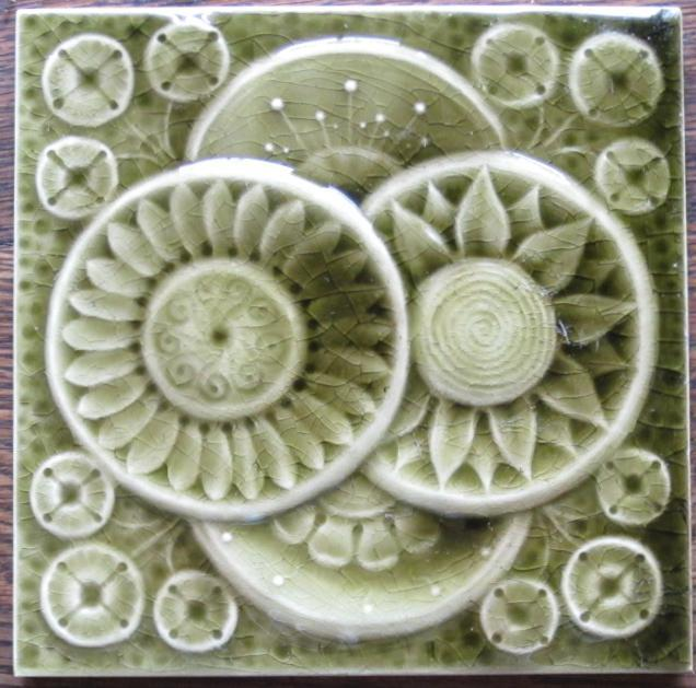 Antique American Majolica Arts & Crafts Tile - AETCO