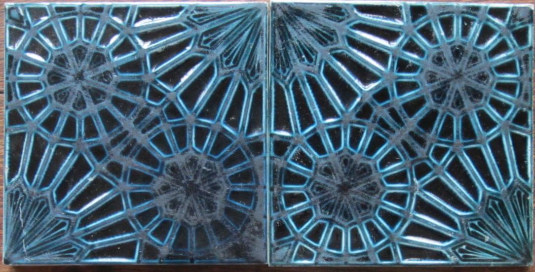 Pair of Antique American Arts & Crafts Majolica Tiles - J.& J.G. Low