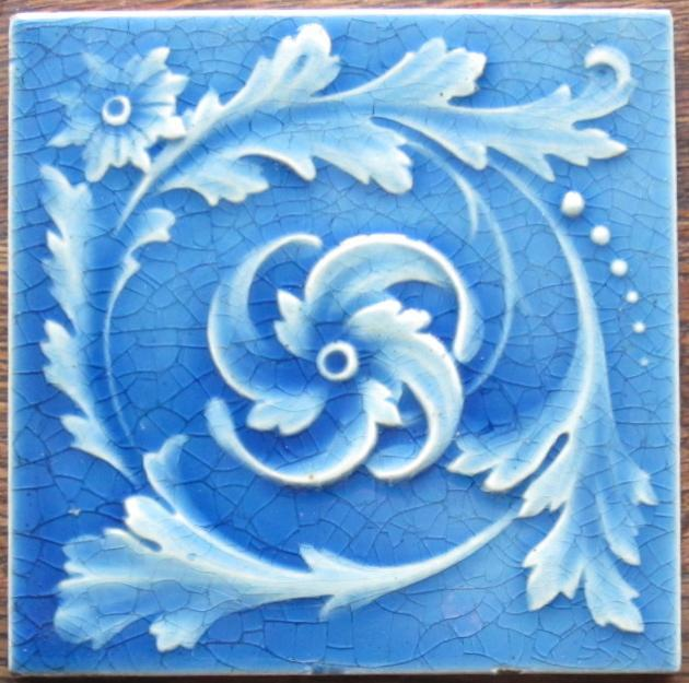 Antique American Majolica Arts & Crafts Tile -Kensington