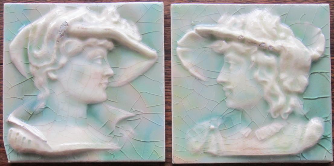 Pair of American Arts & Crafts Tile - USET