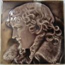 Antique English Art Nouveau Portrait Tile