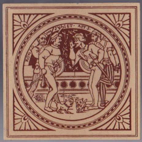 Antique Minton China Works Picture Tile - Shakespeare