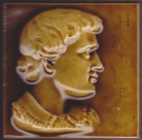 Antique American Majolica Portrait Tile - USET - Hamlet