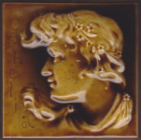 Antique American Majolica Portrait Tile - USET - Ophelia