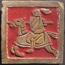 Mueller Mosaic Co Arts & Crafts Tile of Knight on Horseback
