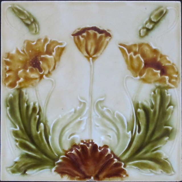 English Majolica Tile - Henry Richards