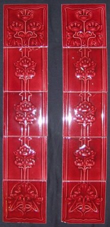 Antique English Nouveau Tile Fireplace Panels