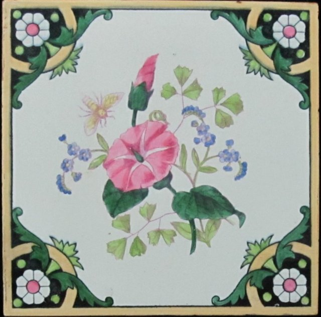 Antique Minton Hand-Colored Tile-Bee
