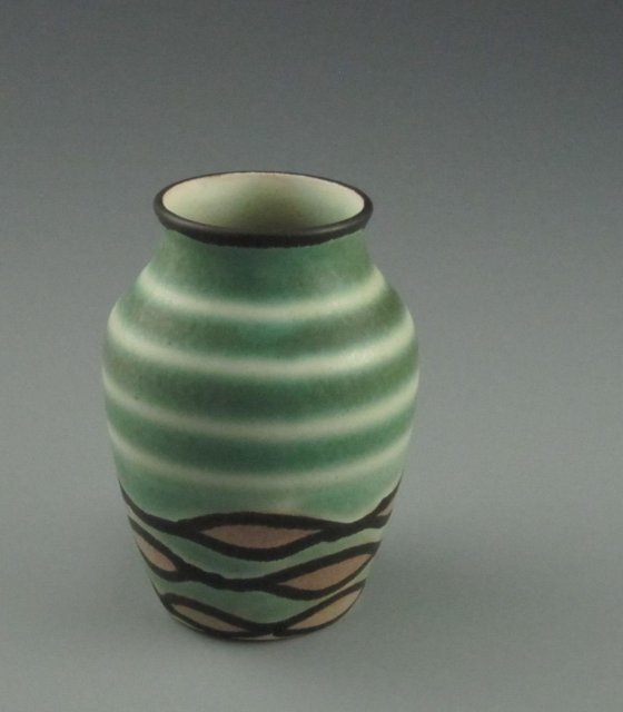 Antique Czech Art Pottery Art Deco Vase